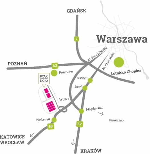 mapa lokalizacyjna Ptak Warsaw Expo